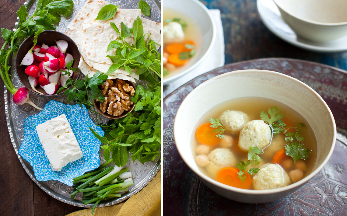 New Persian Kitchen:Herb platter + matzoh ball soup