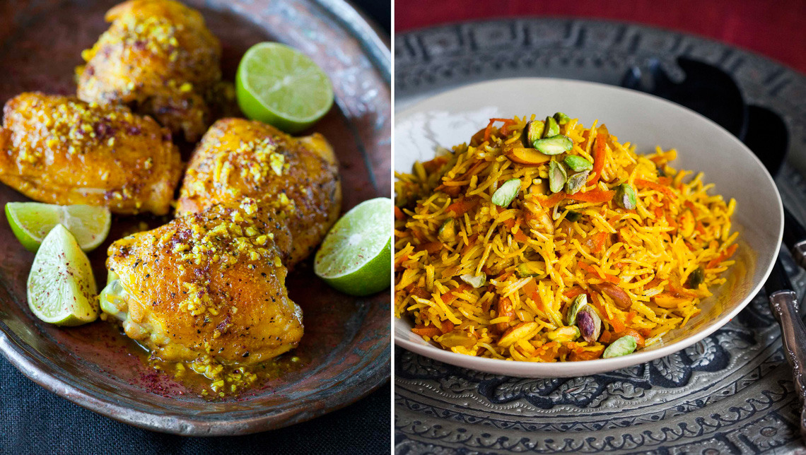 New Persian Kitchen:Tumeric chicken +Sweet rice