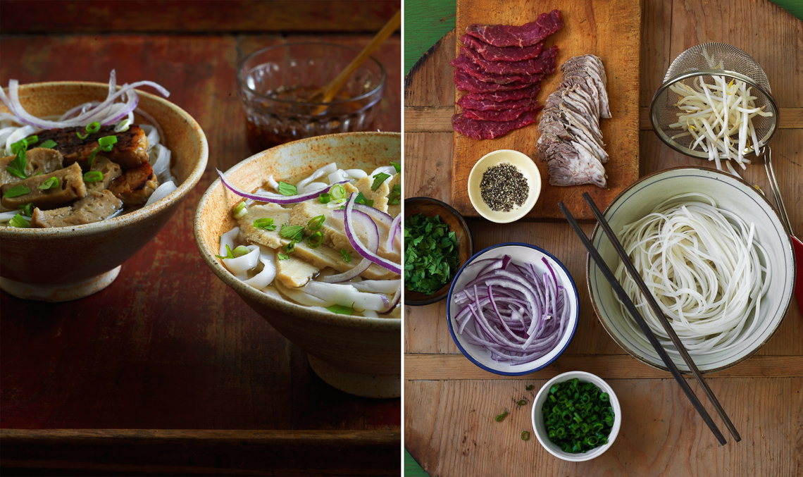Pho:Veg Chicken Pho + Bowl Assembly