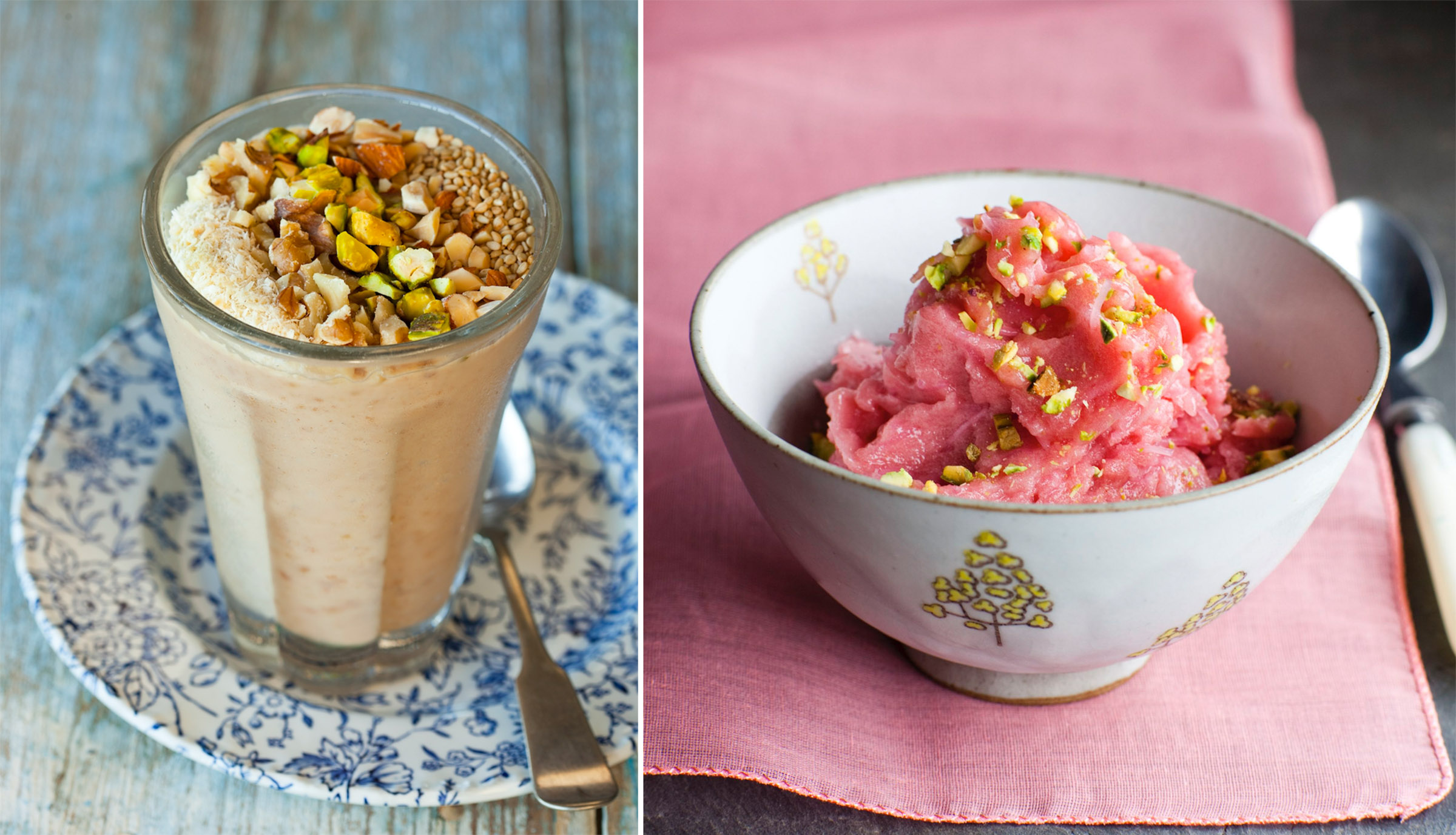 New Persian Kitchen:Date shake + Rhubarb sorbet
